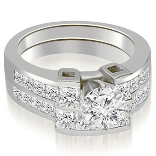 2.45 cttw. 14K White Gold Channel Set Diamond Princess and Round Cut Bridal Set