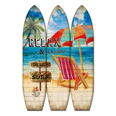 Lounge and Umbrella Print Surfboard Shaped 3 Panel Room Divider, Multicolor - 71 H x 2 W x 47 L Inches