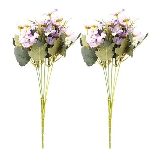 Unique Bargains Artificial Chrysanthemum Flower Photo Prop Handheld Bouquet Light Purple 2pcs