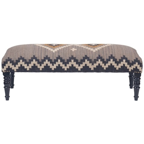 """Handmade Kilim Upholstered Wooden Bench (India) - 48"""" W x 16"""" L x 18"""" H"""