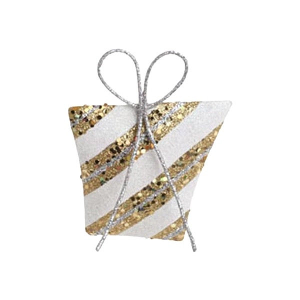 "5"" Christmas Whimsy White and Gold Glitter Striped Gift Christmas Tree Ornament"