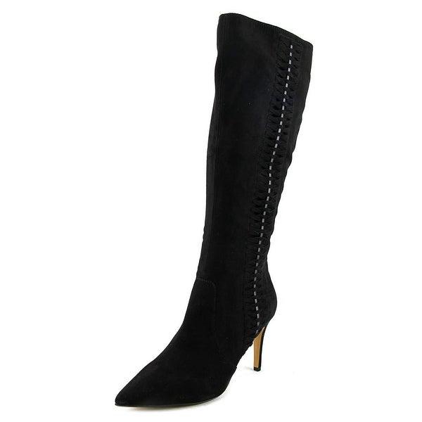 Thalia Sodi Romina Women Pointed Toe Suede Black Knee High Boot