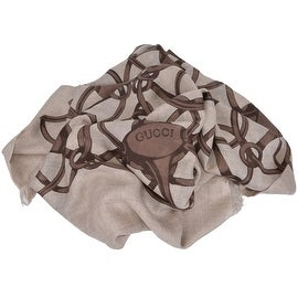 Gucci Women's 367222 Brown Modal Wool Horsebit Logo Pattern Scarf Wrap