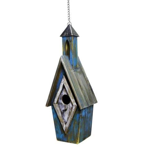 """Alpine YEN160HH-BL Wood Bird House, 20"""", Blue"""
