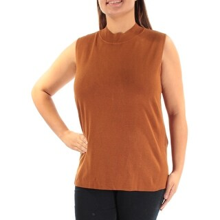 Womens Brown Sleeveless Turtle Neck Casual Top Size XL