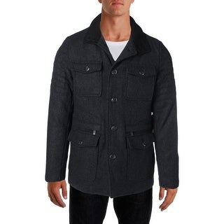 Kenneth Cole Reaction Mens Wool Blend Button Closure Military Coat
