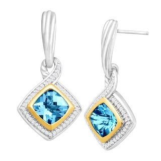 3 1/3 ct Natural Swiss Blue Topaz & 1/4 ct Diamond Earrings in Sterling Silver & 14K Gold