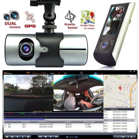 "Indigi® XR300 Car DVR DashCam Dual Cameras (Front+Rear) G-Sensor Driving Recorder with 2.7"" Split LCD w/ GPS Tracker - Black"