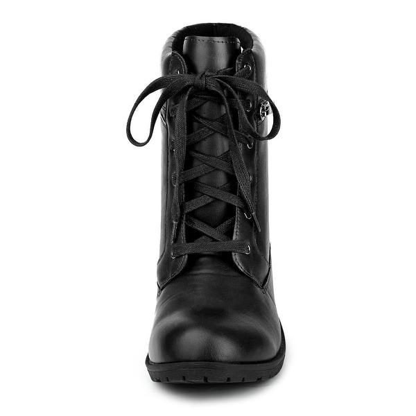 block heel booties lace up