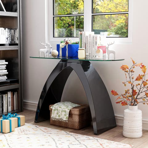 Furniture of America Crescendo Modern Glass Top Sofa Table