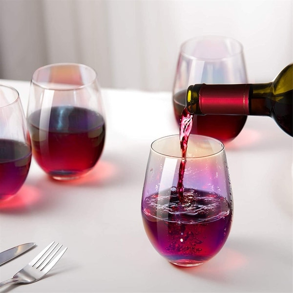Rainbow Wine Glasses Stemless Goblet Beverage Cups - 18oz, Set of 4, Ideal for Cocktails & Scotch, Perfect for Homes & Bars. Opens flyout.