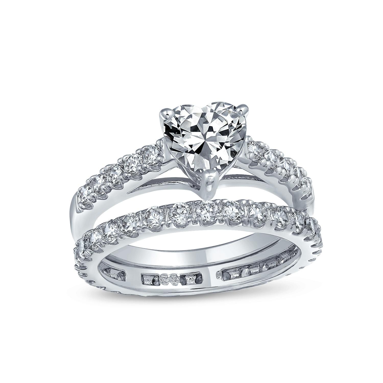 iSilver Rhodium Plated Heart Shaped Wedding Engagement Bridal Ring Eternity Band Set