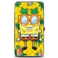 SpongeBob Pineapple Eyes + SpongeBob & Patrick Starfish Pose Pineapple Gold Hinge Wallet - One Size Fits most