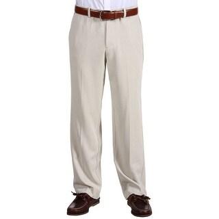 Tommy Bahama Big and Tall Flying Fishbone Flat Front Pants Khaki Sand 42 x 32