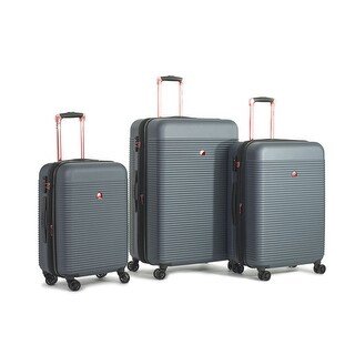 Delsey Panorama 3 Piece Expandable Set, Pearl Grey w/ Rose Gold