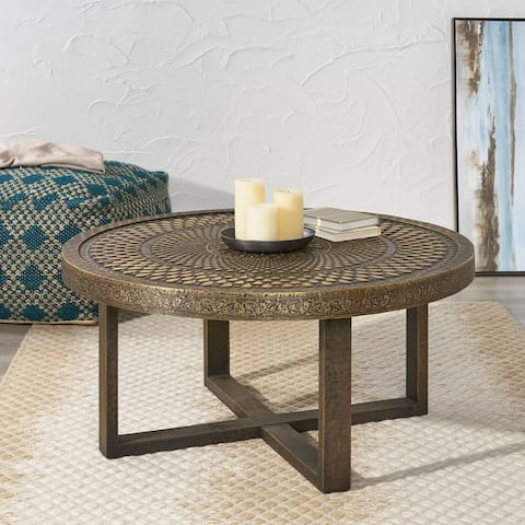 Cohutta Indoor Handcrafted Embossed Coffee Table by Christopher Knight Home