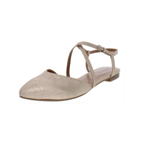 Indigo Rd. Womens Genetic 2 Pointy-Toe Flats Ankle Strap Metallic