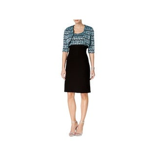 R&M Richards Womens Dress With Cardigan Sequined Lace