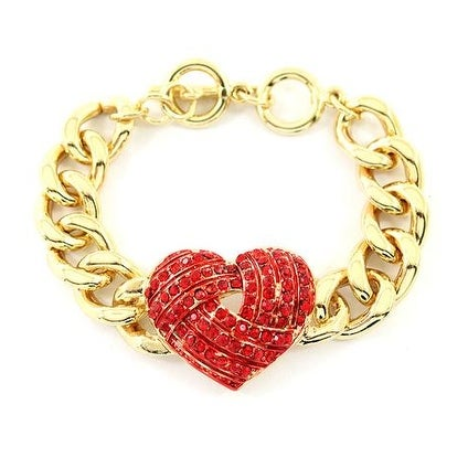 Gold Bracelet with Red Heart for Love