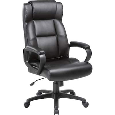 Lorell Soho High-back Leather Executive Chair - Black Bonded Leather Seat - Black Bonded Leather Back - 5-star Base - 1 Each