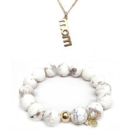 "Julieta Jewelry Set 12mm White Agate Lauren 7"" Stretch Bracelet & 18mm Mom Charm 16"" 14k Over .925 SS Necklace"