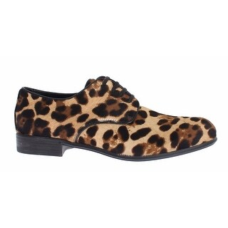 Dolce & Gabbana Brown Leopard Leather Hair Broques Shoes - 38