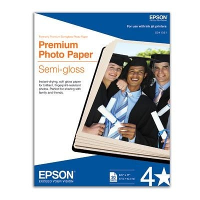 "Epson S041331 Premium Photo Paper Semigloss With 20 Sheets Of 8.50"" X 11"""