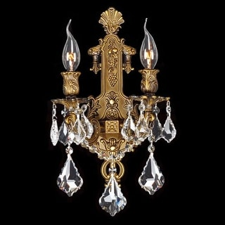"""Worldwide Lighting W23315B12 Versailles 2 Light 12"""" Wall Sconce in Antique Bronze with Clear Crystals"""