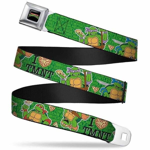 "Classic Tmnt Logo Full Color I ""Heart"" Tmnt Classic Turtles & Pizza Green Seatbelt Belt"