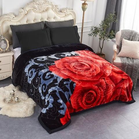 2 Ply Rose Crystal Velvet Blanket 2 Double-sided Design Blanket 7.5-8.5lbs