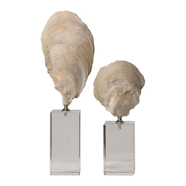 """Set of 2 Oyster Shell Sculptures 15"""" - N/A"""