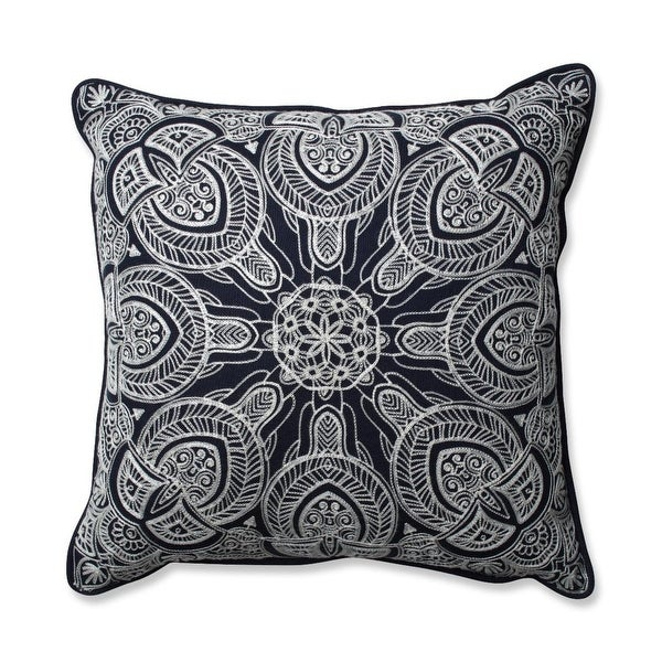 "16.5"" Unique and Intricate Embroidered Navy Colored Decorative Throw Pillow"