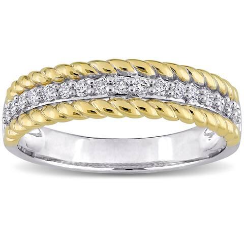 Miadora 10k 2-tone White and Yellow Gold 1/4ct TDW Diamond Anniversary Wedding Band Ring