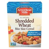 Arrowhead Mills All Natural Shredded Wheat Cereal - Bite Size and Sweetened - Case of 12 - 12 oz.