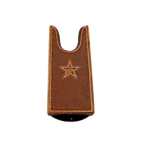 M&F Western Boot Jack Leather Wood Star Cutout Basketweave Tan 0 - 5 x 11 3/8 x 1 ½