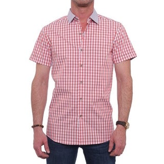 Kenneth Cole Reaction Short Sleeve Slim Heather Woven Shirt Men Casual