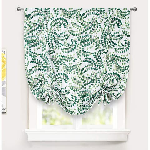 """DriftAway Aleena Floral Scroll Pattern Blackout Thermal Insulated Tie Up Curtain - 45"""" width x 63 """" length"""