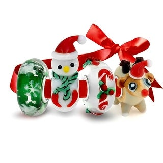 Bling Jewelry 925 Sterling Silver Glass Christmas Bead 4 Charm Set