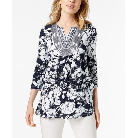 Charter Club Women's Printed Embroidered Top Intrepid Blue Combo Size 2 Extra Large - XX-Large