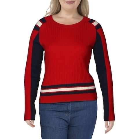 Rag & Bone Womens Crewneck Sweater Wool Blend Stripped - Bight Red