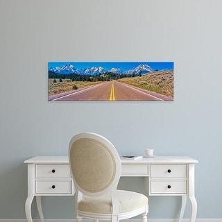 Easy Art Prints Panoramic Images's 'Road leading, Teton Range, Grand Teton National Park, Wyoming' Canvas Art