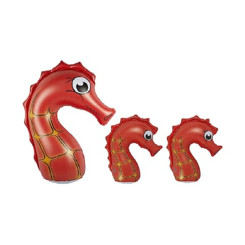 Set of 3 Inflatable Orange and Black Seahorse Family Pool Floats, 36-Inch