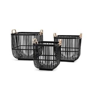 Set of Three Caged Crates Blackboard Black Bamboo Decorative Baskets 17.75