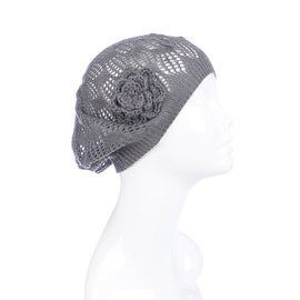 Womens Mini Square Flower Beanie Hat