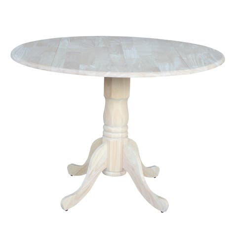 International Concepts Unfinished 42-inch Round Drop Leaf Dining Table