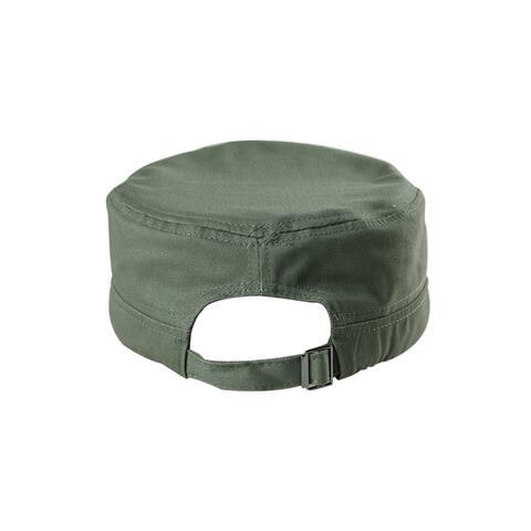 Unisex Cotton Flat Top Peaked Baseball Vintage Adjustable Cadet Cap Army Green