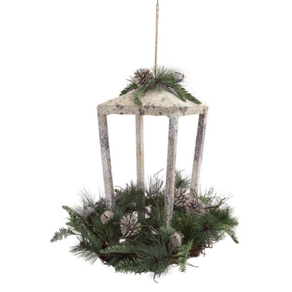 Pack of 2 Rustic Christmas Lanterns with Pine, Pine Cones and Jingle Bells 18""