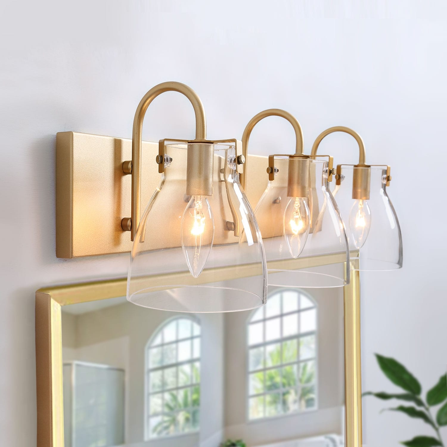 Modern Golden Finish 3 Lights Bathroom Vanity Lighting Glass Wall Sconce For Powder Room L22 X H8 X E7 On Sale Overstock 30096929