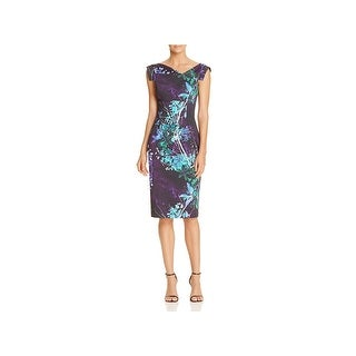 Black Halo Womens Jackie O Special Occasion Dress Watercolor Cross Over