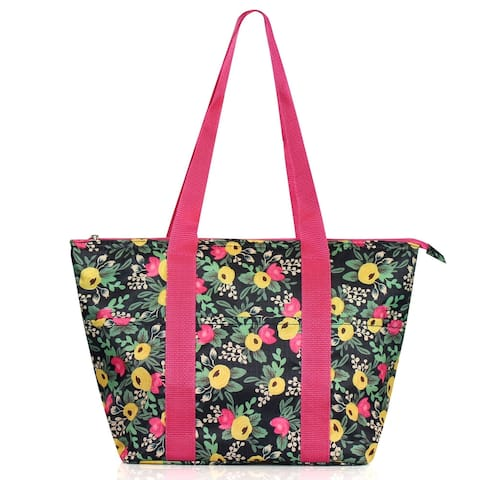 """Zodaca Insulated Leak Resistant Lunch Tote Double Handles Carry Zip Closure Bag (Size - 15""""L x 5""""W x 10""""H) - Multifloral"""